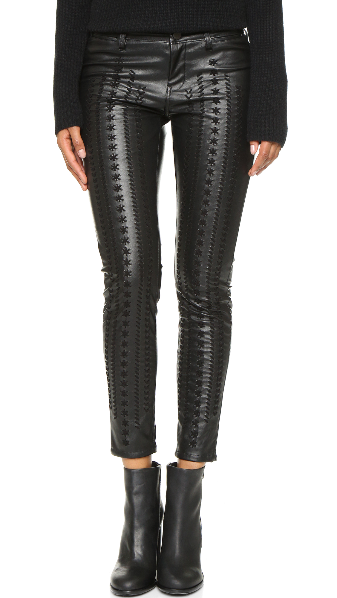 Blank Denim Vegan Leather Embroidered Skinny Pants - Wake Up Call