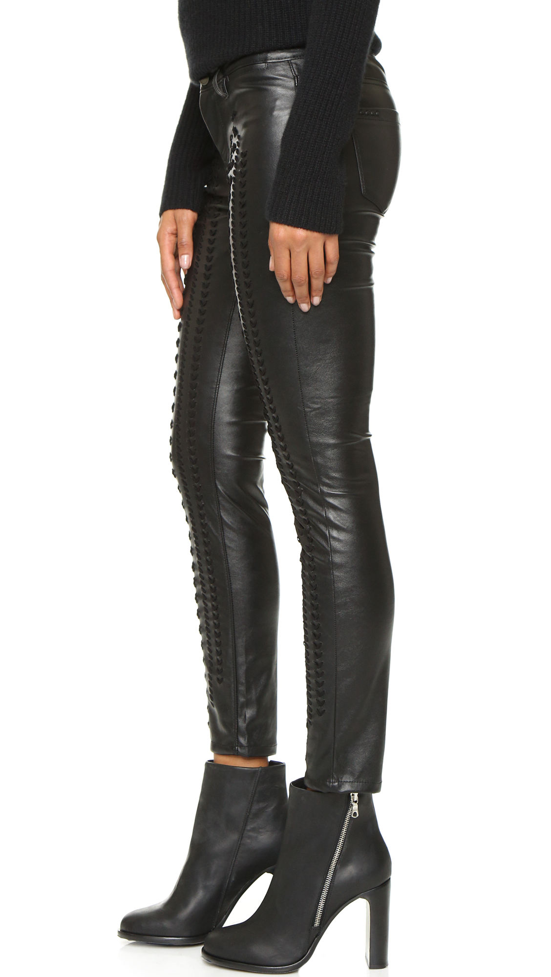649a1935f33a07 Blank Denim Vegan Leather Embroidered Skinny Pants | SHOPBOP