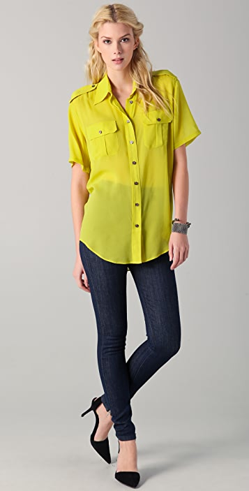 BLK DNM Short Sleeve Silk Military Shirt