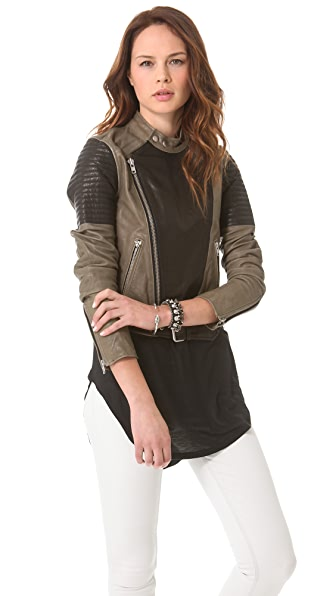 BLK DNM Two Tone Leather Biker Jacket
