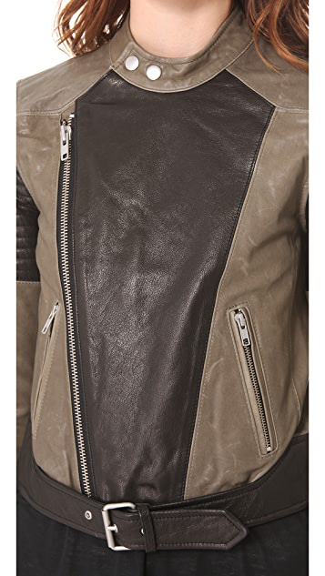 BLK DNM Two Tone Leather Biker Jacket