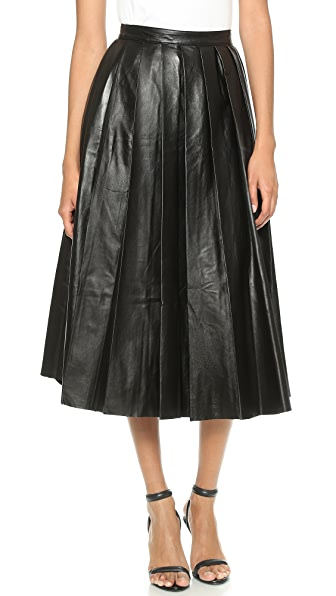 BLK DNM Pleated Leather Skirt