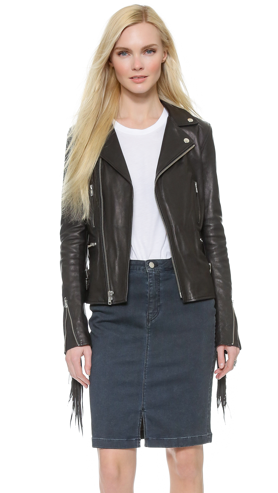 Leather jacket with fringe - Blk Dnm Leather Jacket 10 With Fringe 15 Off First App Purchase With Code 15foryou