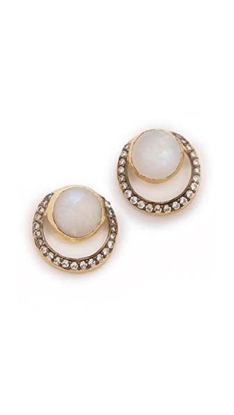 Blossom Box Moonstone Pave Earrings