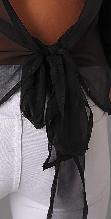 Blue Life Chiffon Bow Tie Back Top