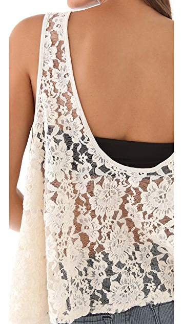Blue Life Lace Back Barebelly Tank