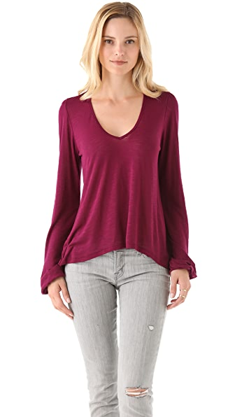 Blue Life V Neck Bell Sleeve Top