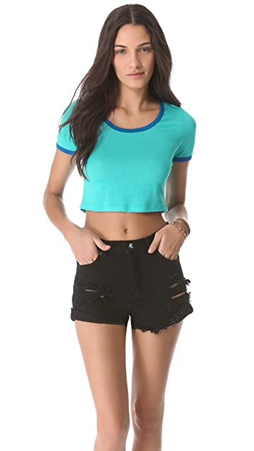 Blue Life Contrast Crop Top