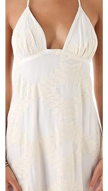 Blu Moon Long Embroidered Halter Dress