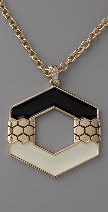Belle Noel Honey Hexagon Pendant Necklace