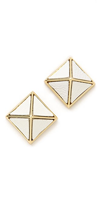 Belle Noel Leather Pyramid Stud Earrings