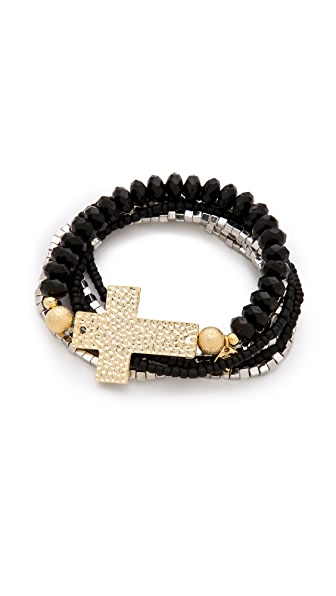 Belle Noel Beaded Cross Bracelet Set