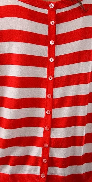 Bop Basics Cashmere Stripe Button Back Sweater