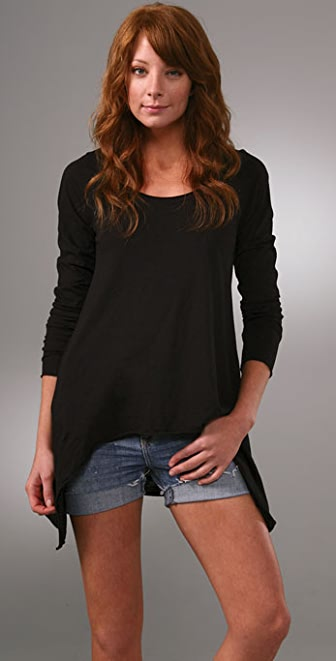 Bop Basics Cotton Slub Scoop Neck Tee with Asymmetrical Hem
