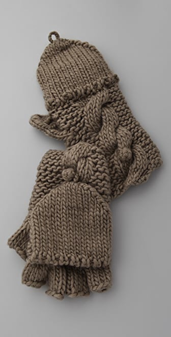 Bop Basics Thick Knit Pop Top Fingerless Gloves