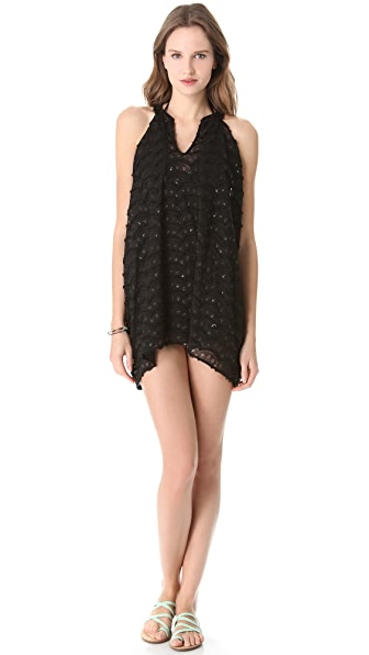 Bop Basics Beach Scallop Cover Up Mini Dress