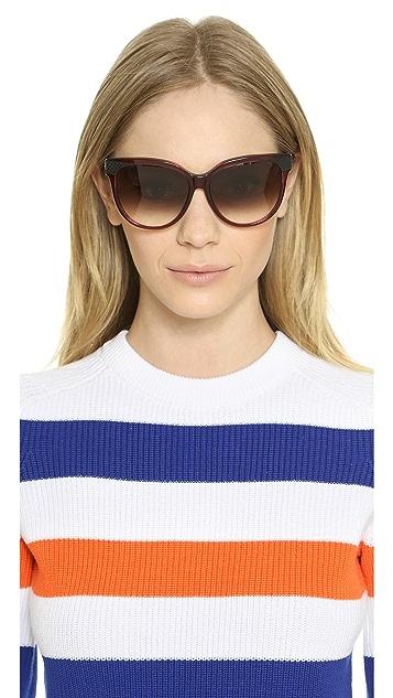 Bottega Veneta Special Fit Leather Accent Sunglasses