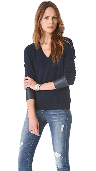 Brochu Walker Leather Cuff V Sweater