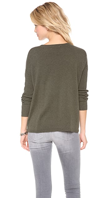 Brochu Walker Leather Trim Crew Sweater