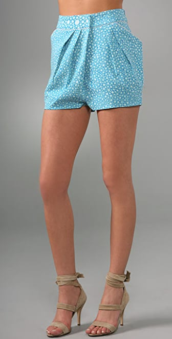 Brian Reyes Pleated Wrap Mini Shorts