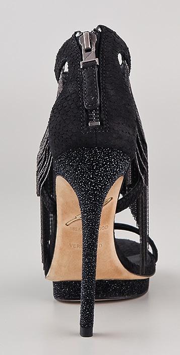 B Brian Atwood Cassiane Metal Fringe Sandals