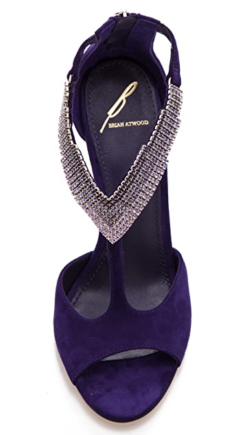 B Brian Atwood Loreto Suede Crystal Sandals