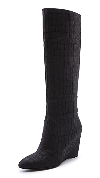 B Brian Atwood Bomand Croco Wedge Boots