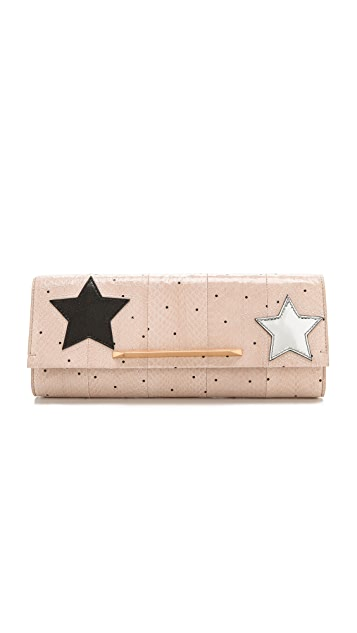 B Brian Atwood Star Print Clutch with Interior Mirror