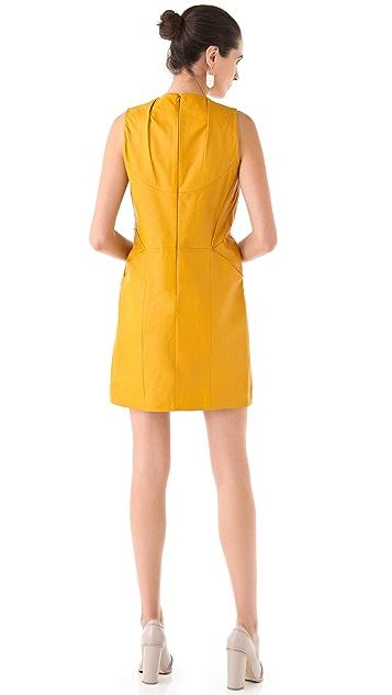 Cacharel Sleeveless Leather Dress with Pintucks