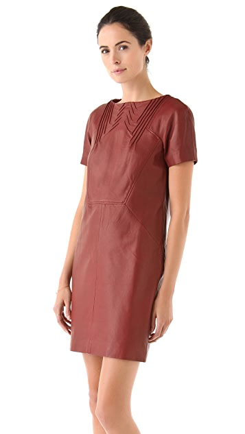 Cacharel Leather Dress with Pintucks