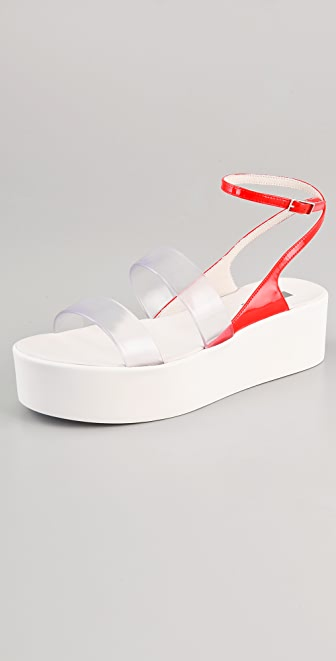 Calvin Klein Collection Kate Vinyl Platform Sandals