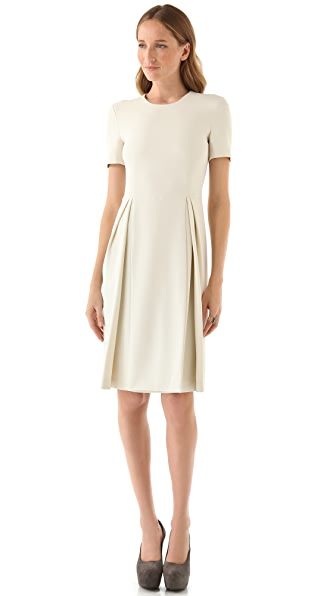 Calvin Klein Collection Short Sleeve Pleated Dress