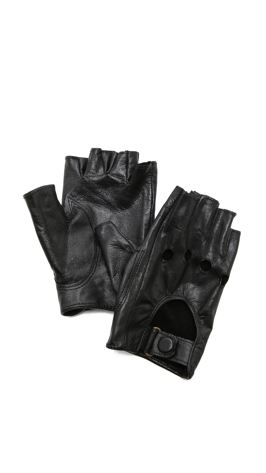 Carolina Amato Fingerless Moto Gloves - Black