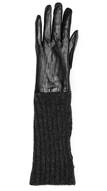Carolina Amato Convertible Leather & Knit Gloves