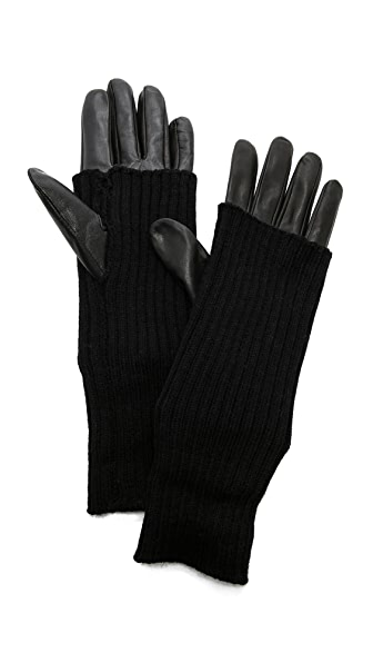 Carolina Amato Knit & Leather Texting Gloves at Shopbop