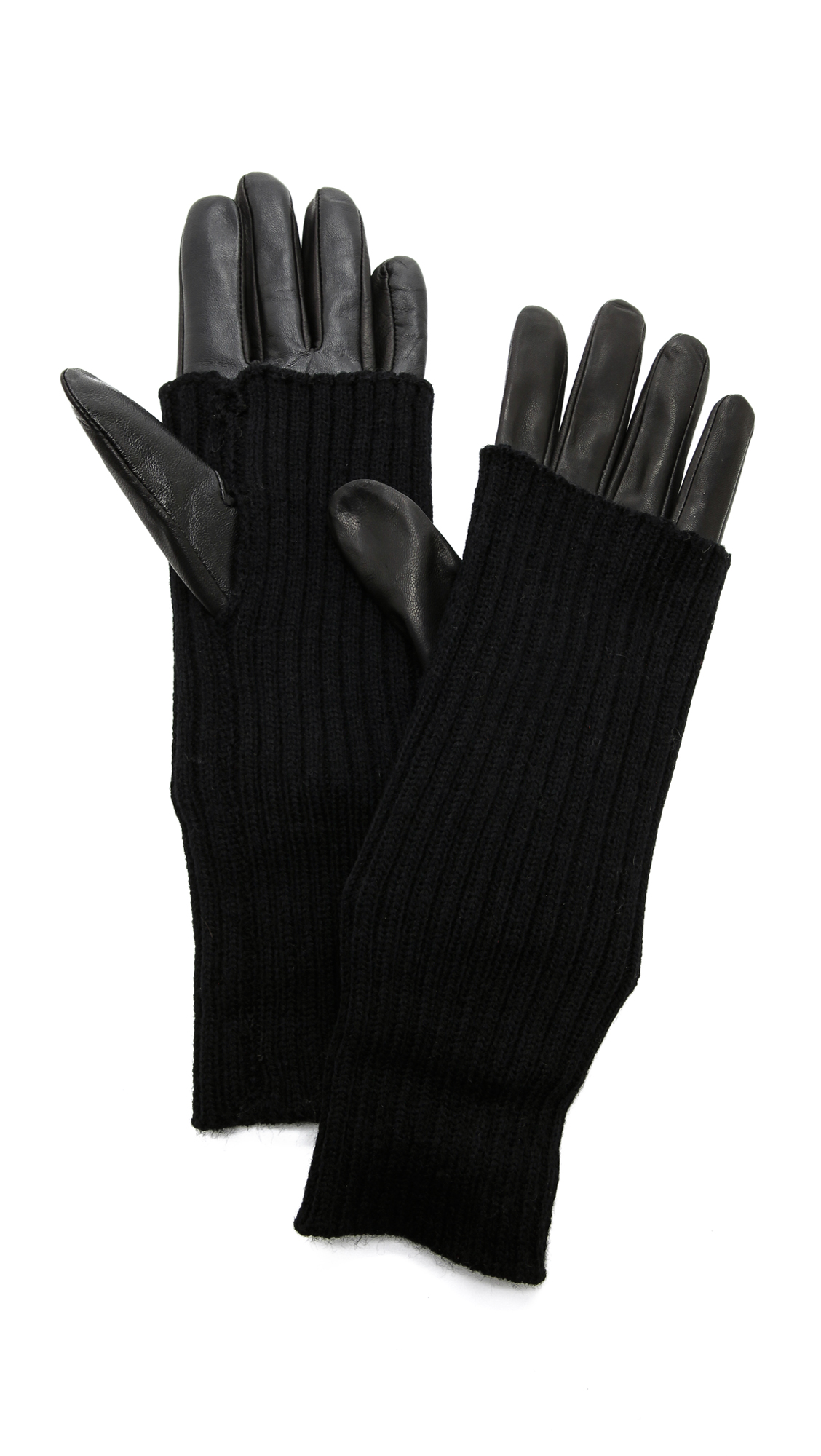 Carolina Amato Knit & Leather Texting Gloves - Black