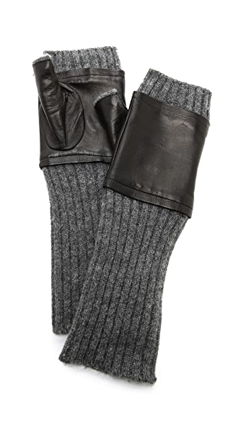 Carolina Amato Fingerless Knit & Leather Gloves