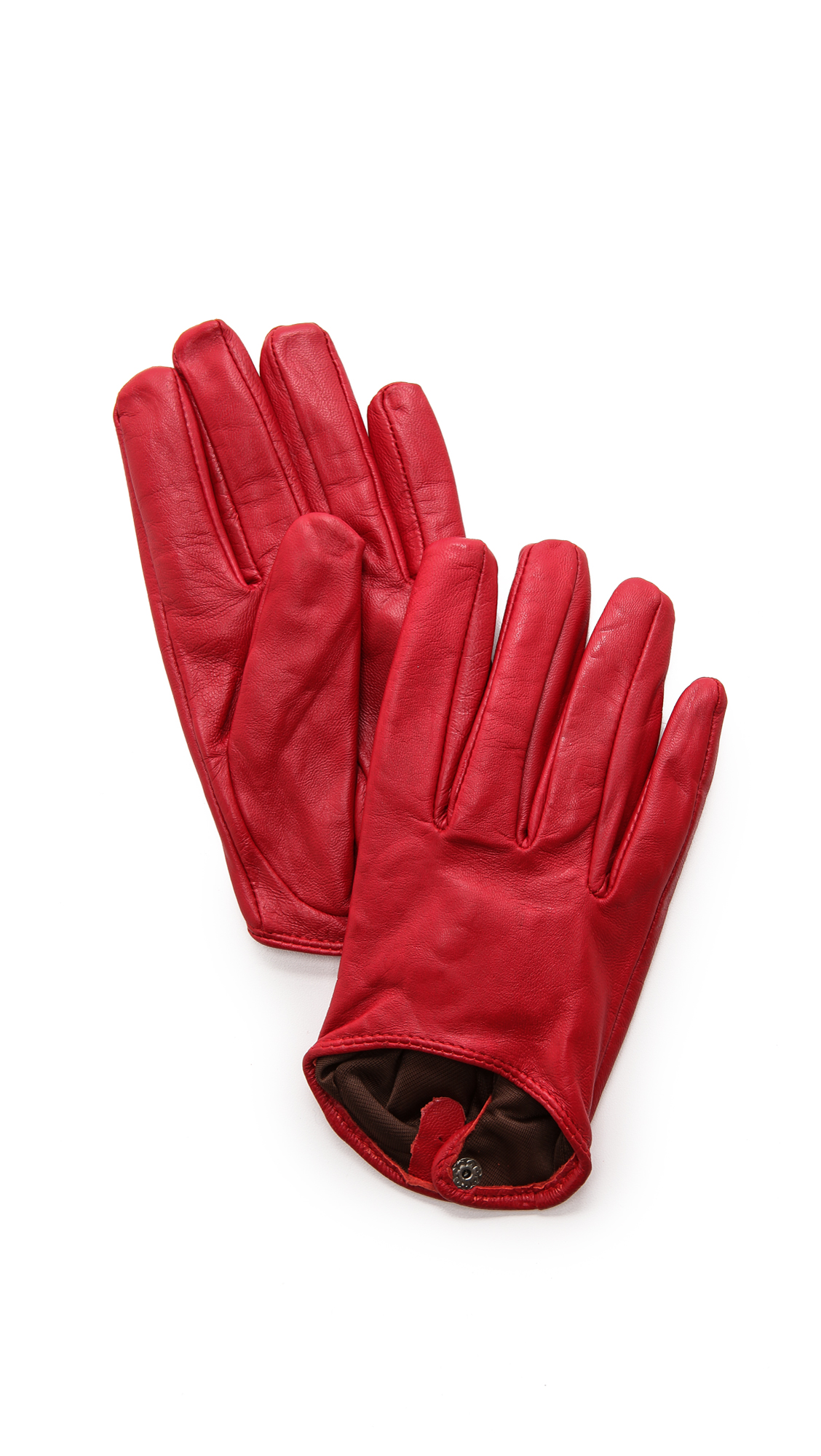 Carolina Amato Short Leather Gloves - Red