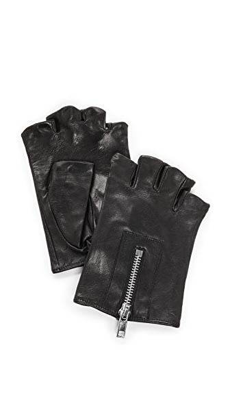 Carolina Amato Zipper Fingerless Moto Gloves