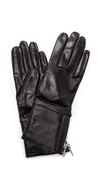 Carolina Amato Shearling Cuff Leather Gloves