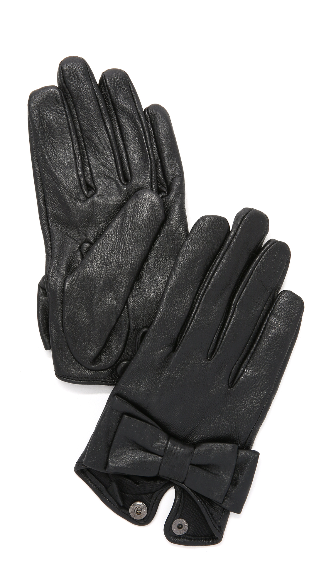 Carolina Amato Bow Snap Gloves - Black