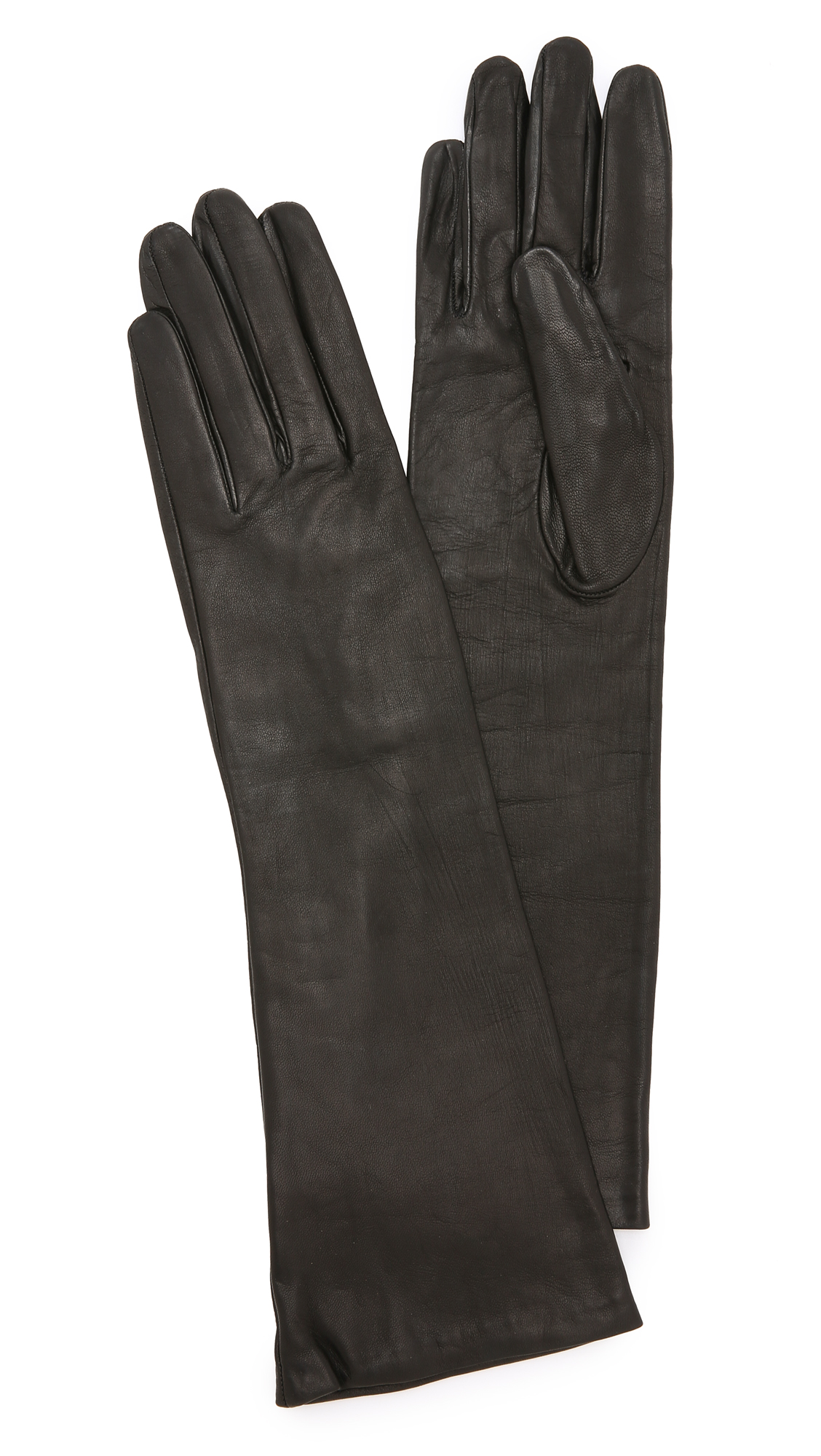 Carolina Amato Long Leather Gloves - Black