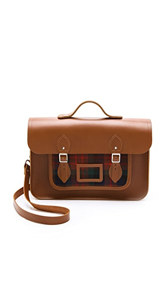 "Cambridge Satchel 15"" Satchel with Tartan Pocket"