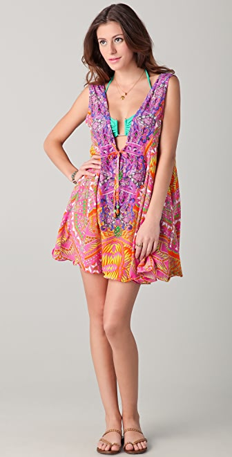 Camilla Aztec V Neck Drawstring Dress