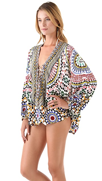 Camilla Lace Up Shirt Cover Up