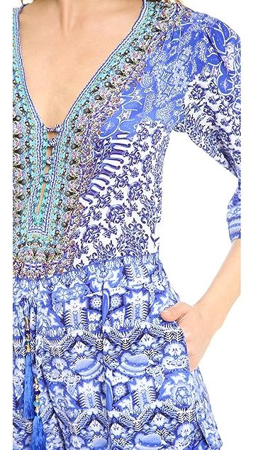 Camilla Long Sleeve Drawstring Waist Romper