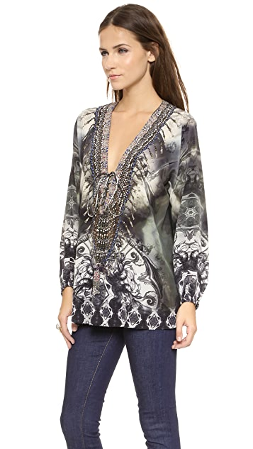 Camilla Lace Up Blouse