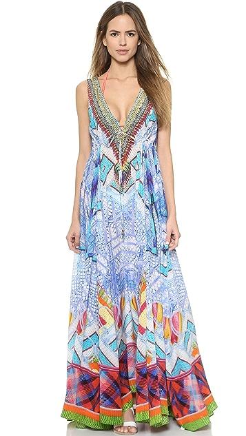 Camilla Long V Neck Drawstring Dress