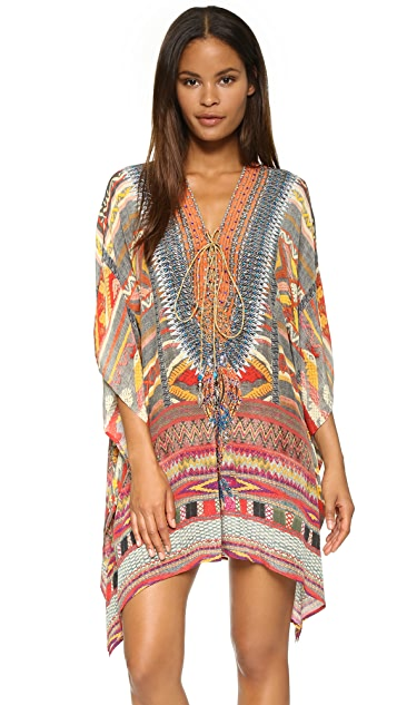 Camilla Oaxaca Wings Short Lace Up Caftan
