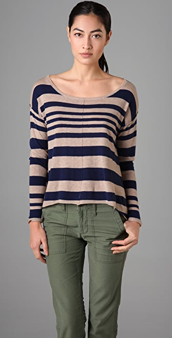 C&C California Stripe High/Low Scoop Sweater